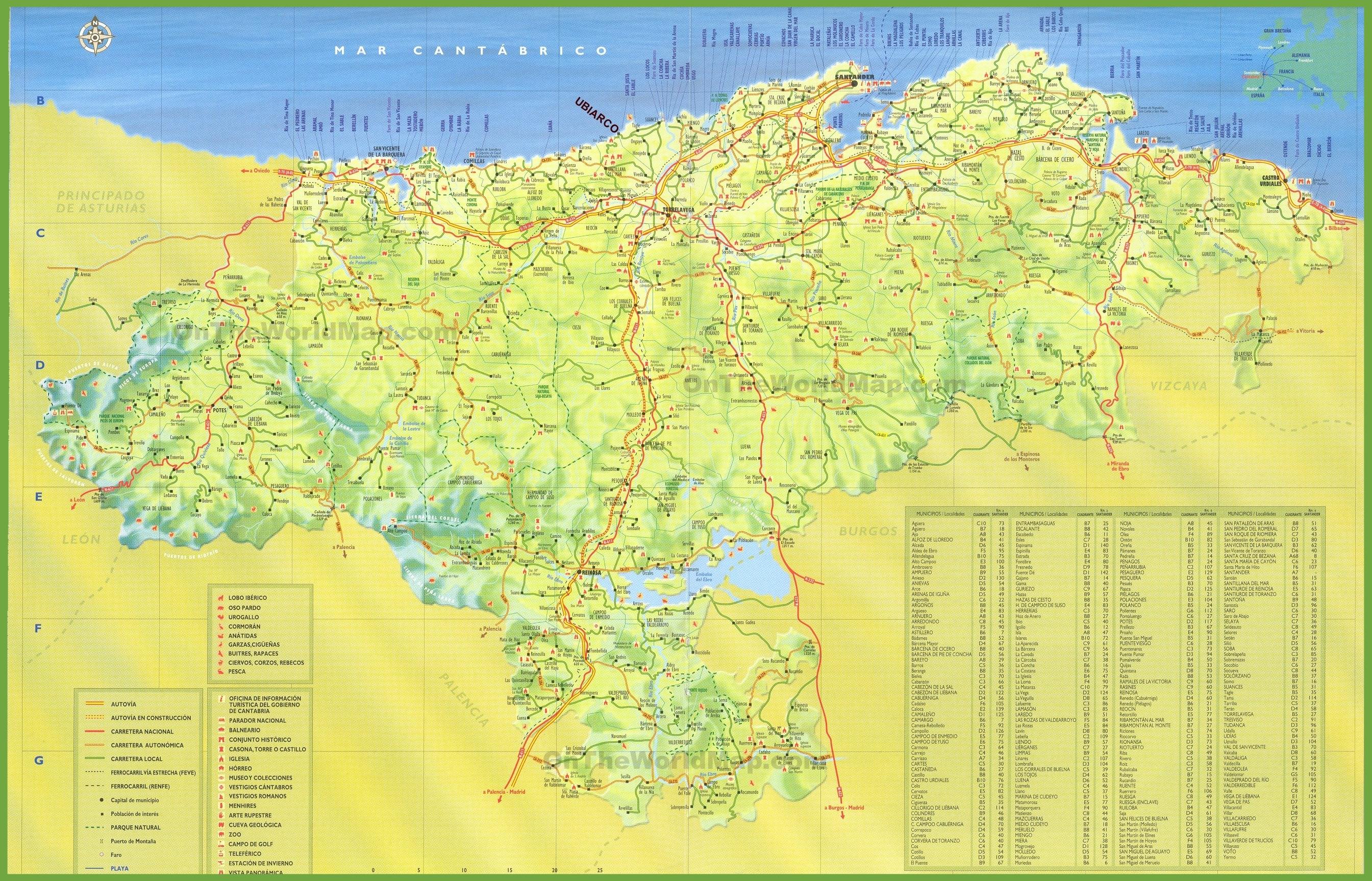 Cantabria tourist map