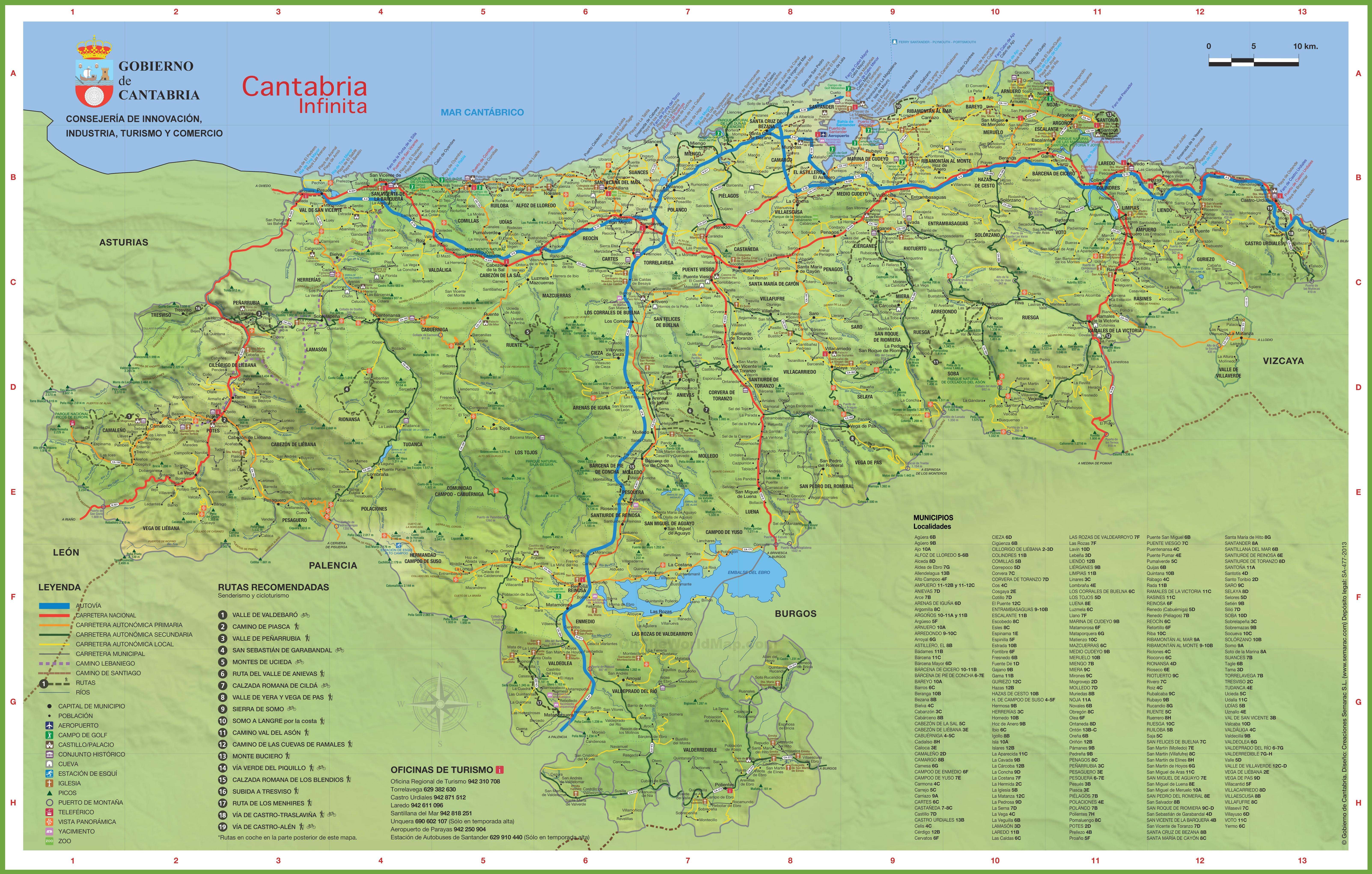 Cantabria travel map