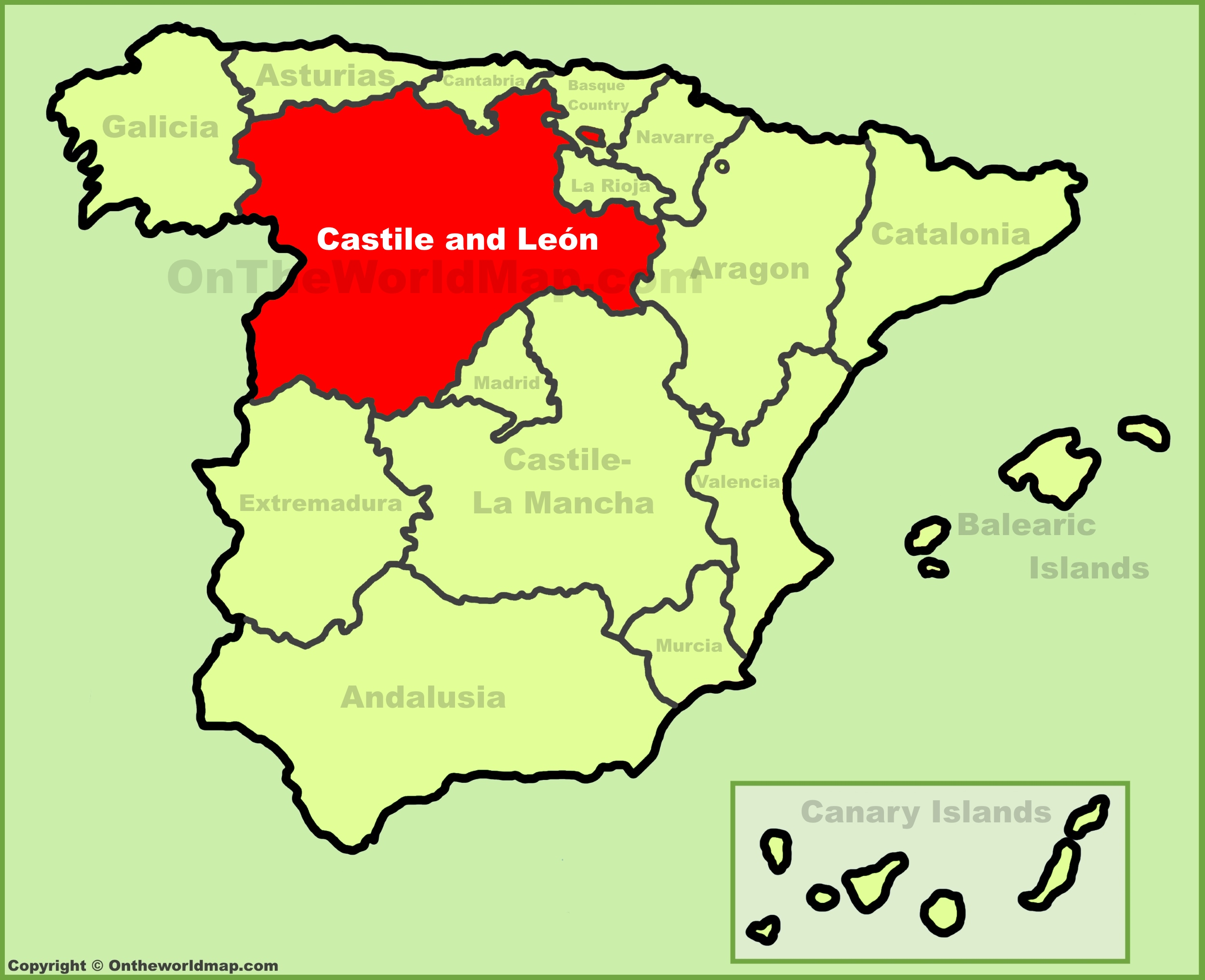 Castile and Len location on the Spain map
