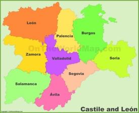 Castile and León provinces map