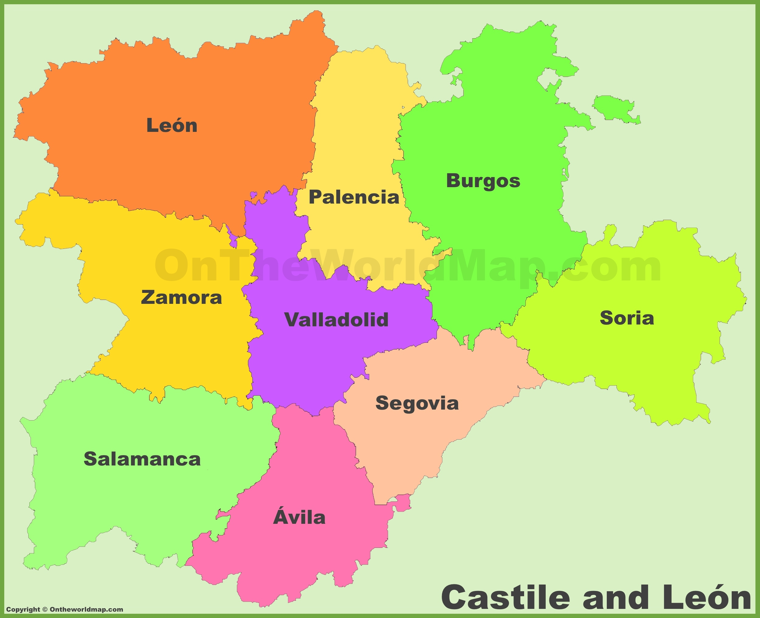 Castile and Len provinces map