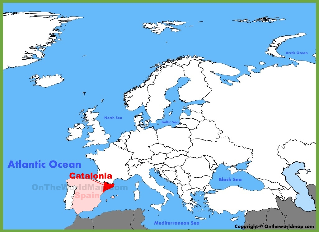 World Map Catalonia.  Catalonia location on the Europe map