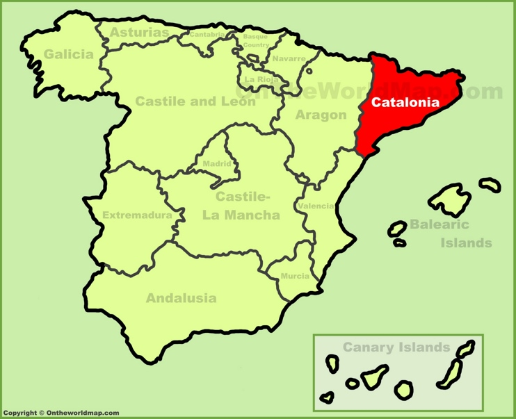Catalonia location on the Spain map