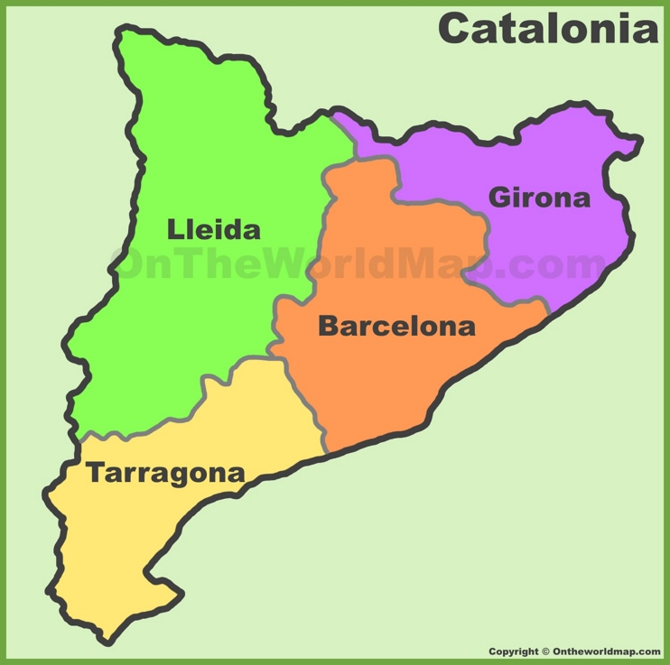Catalonia provinces map