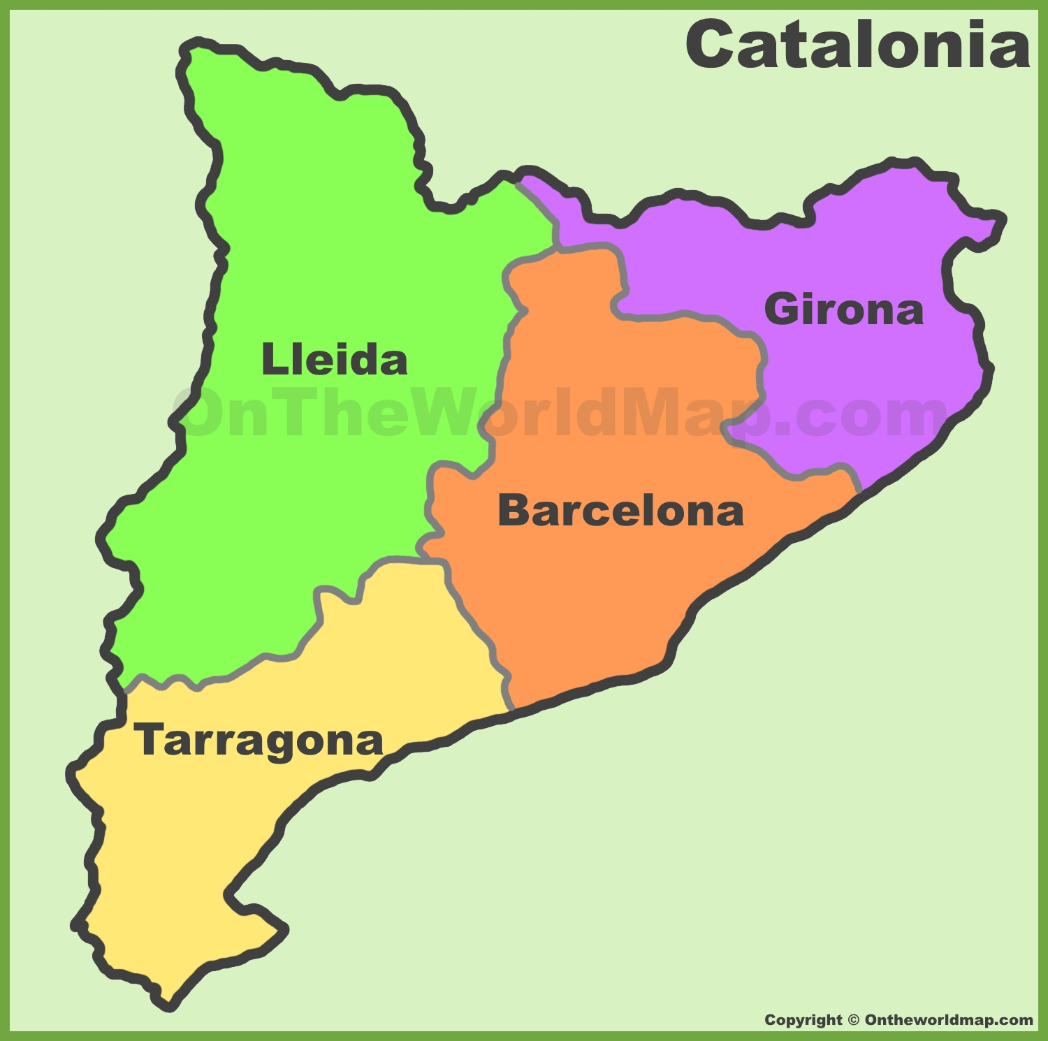 World Map Catalonia. Catalonia provinces map Maps  Spain of