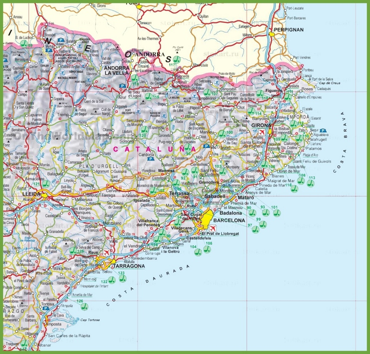Catalonia tourist map