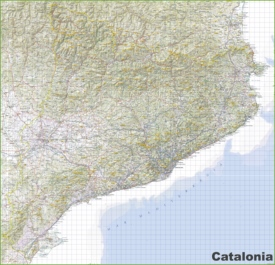 Large detailed map of Catalonia with cities and towns