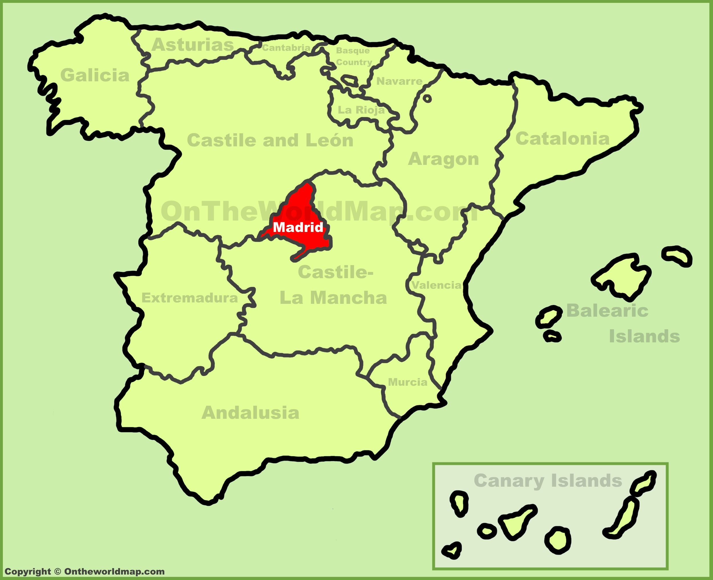 Community of Madrid location on the Spain map