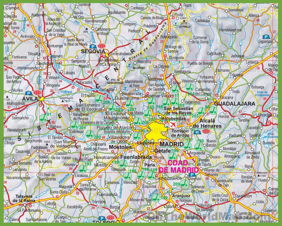 Large detailed map of Community of Madrid with cities and towns