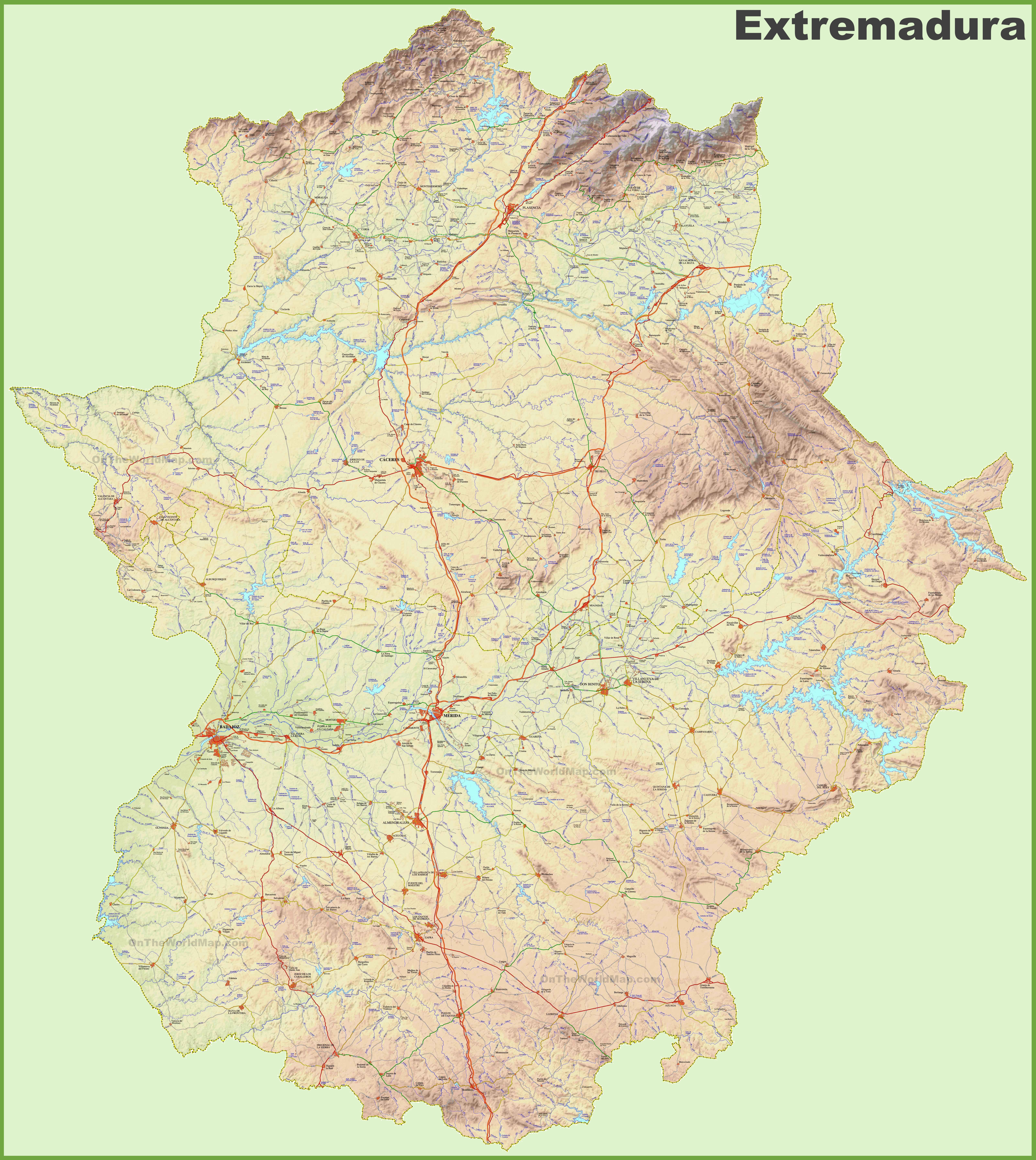Large detailed map of Extremadura with cities and towns
