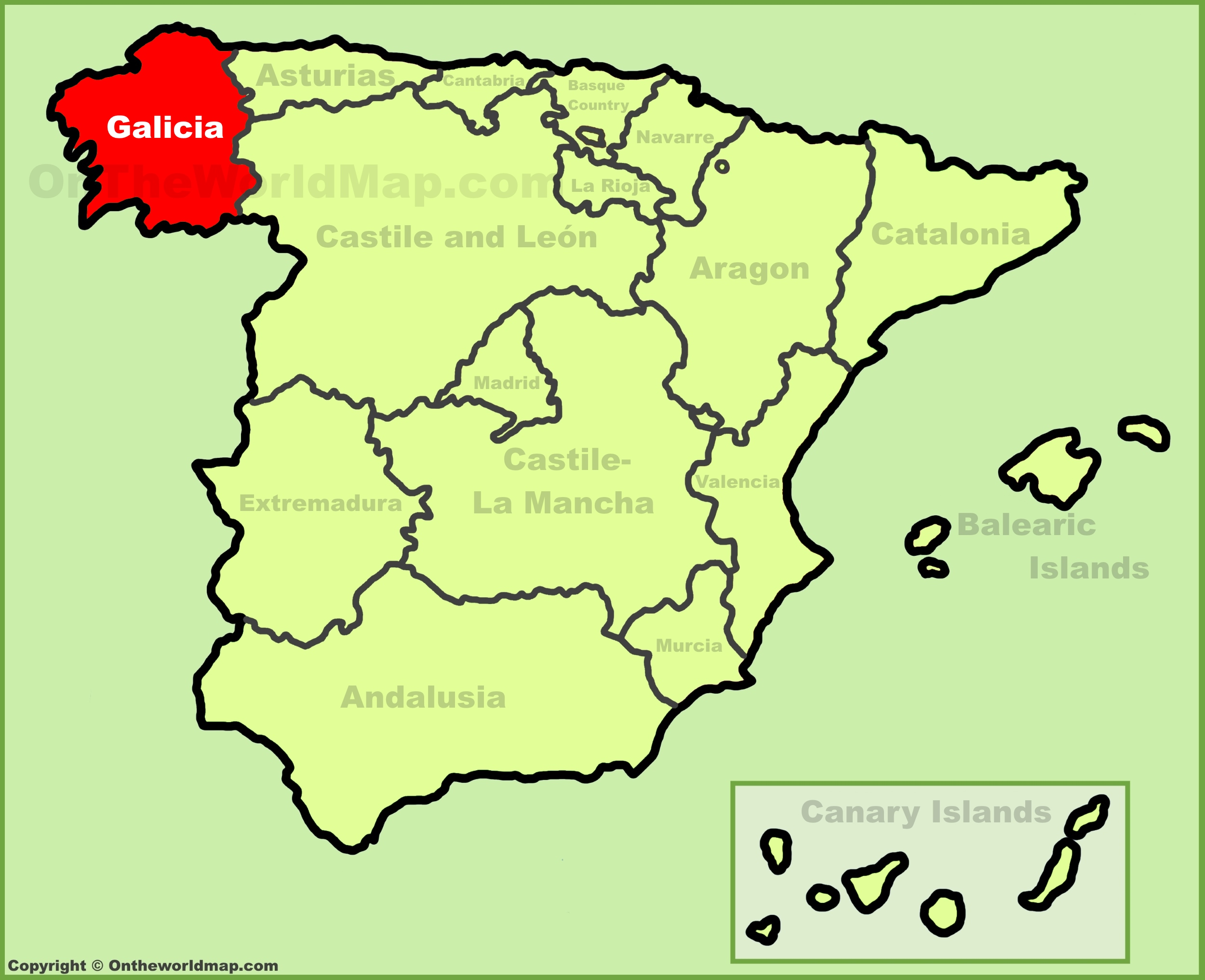 Galicia location on the Spain map