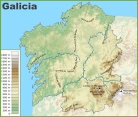 Galicia physical map