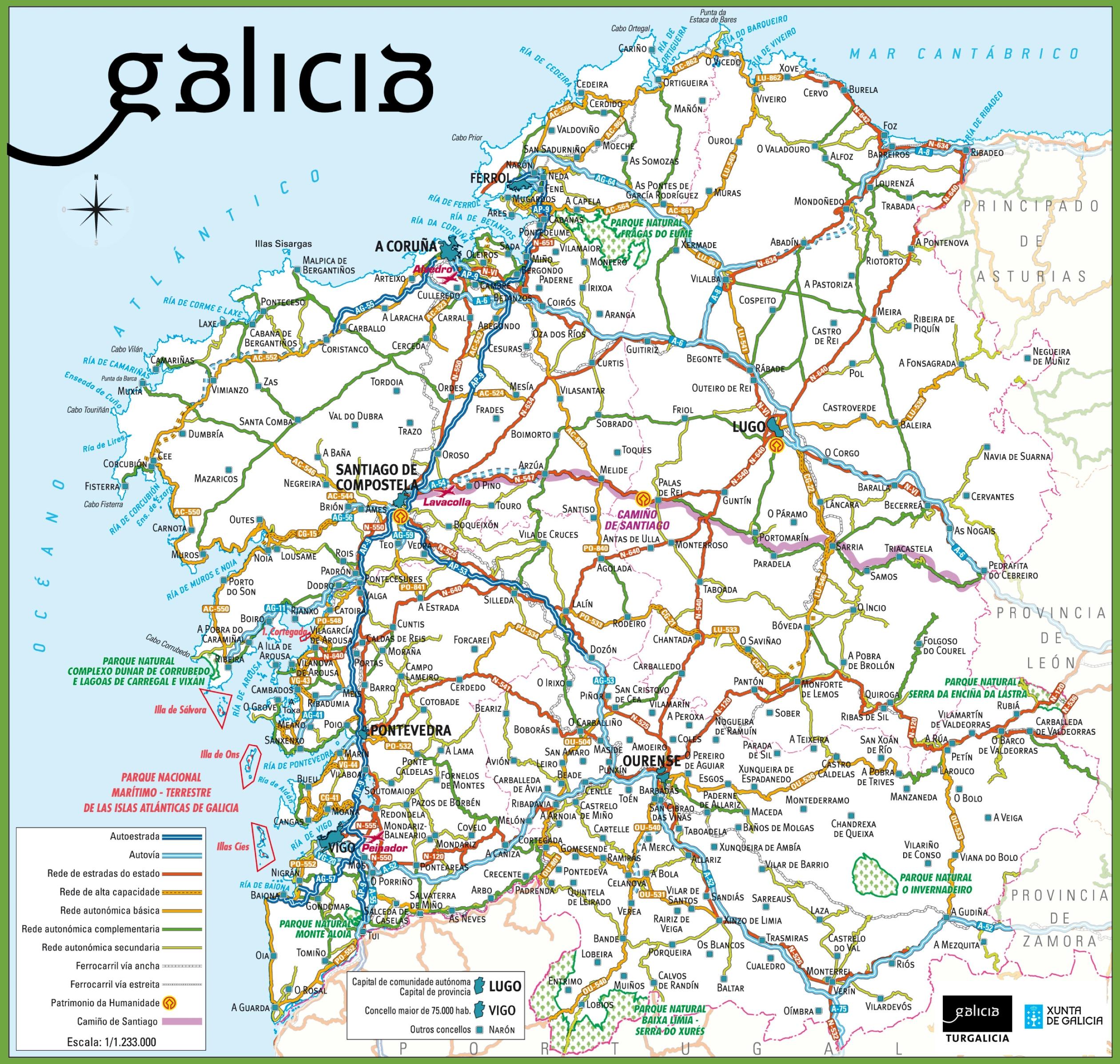 Mapa De Carreteras Galicia.Galicia Carreteras Mapa