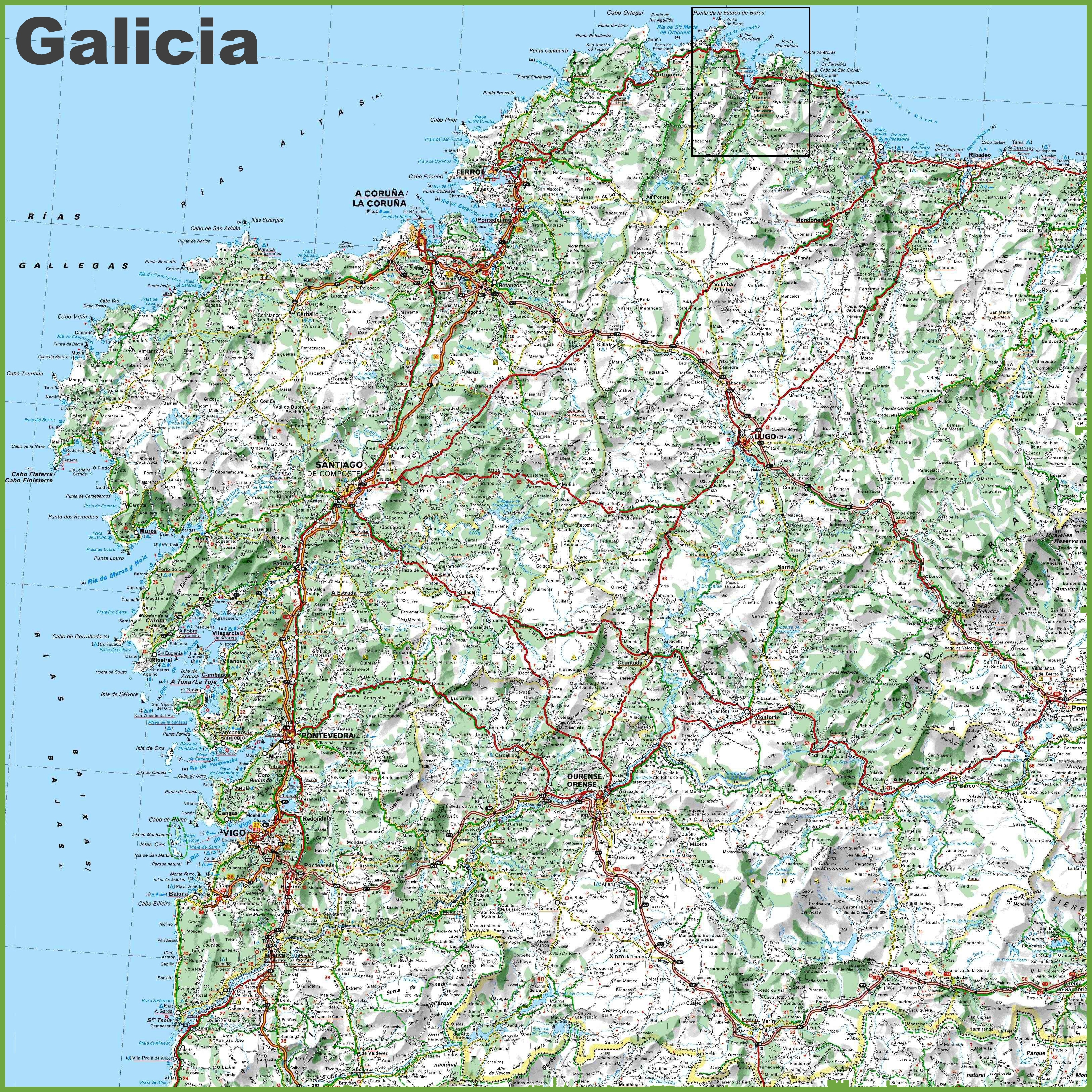 Large detailed map of Galicia with cities and towns