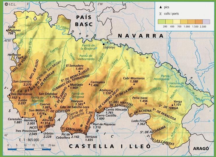 La Rioja - Mapa Fisico