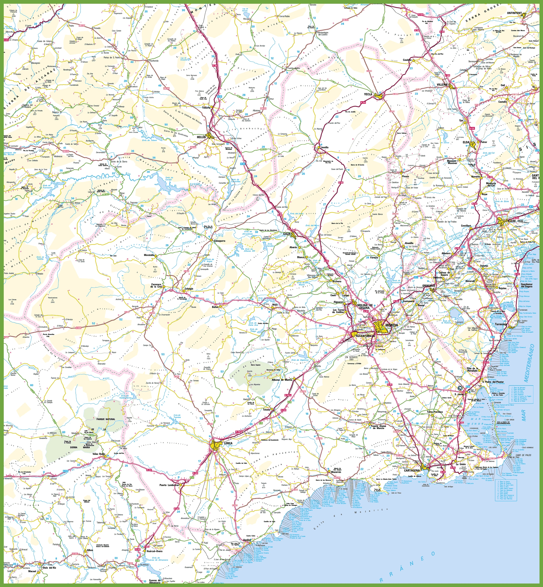 Large detailed map of Region of Murcia with cities and towns