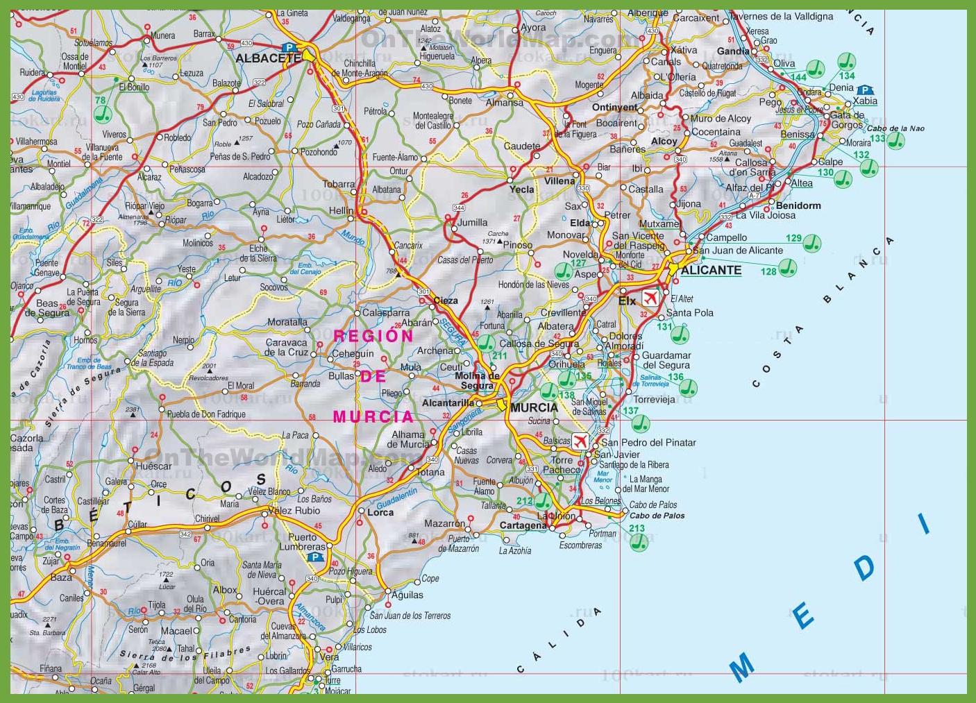 Show Murcia On Map Of Spain.Region Of Murcia Tourist Map