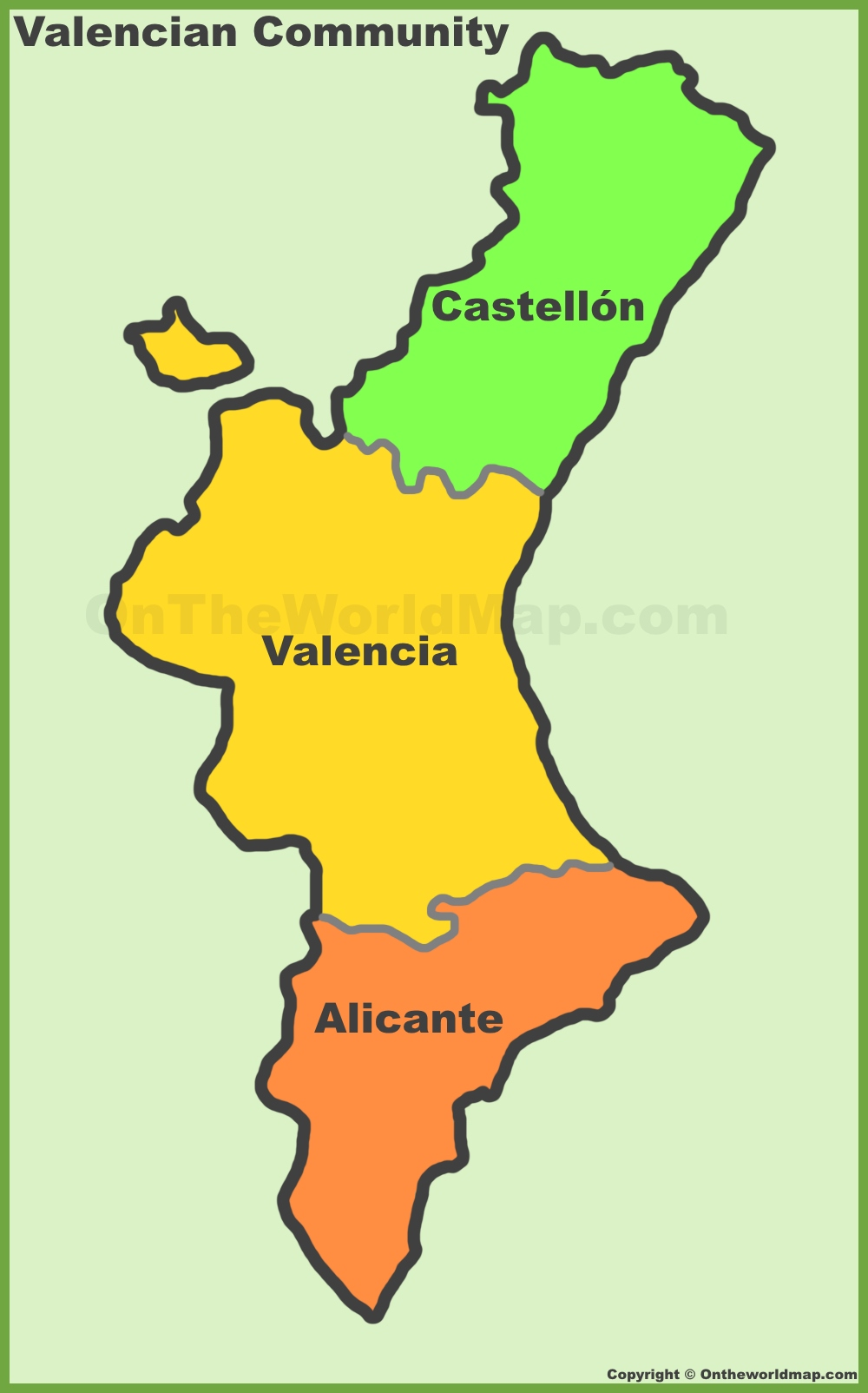 Valencian Community provinces map