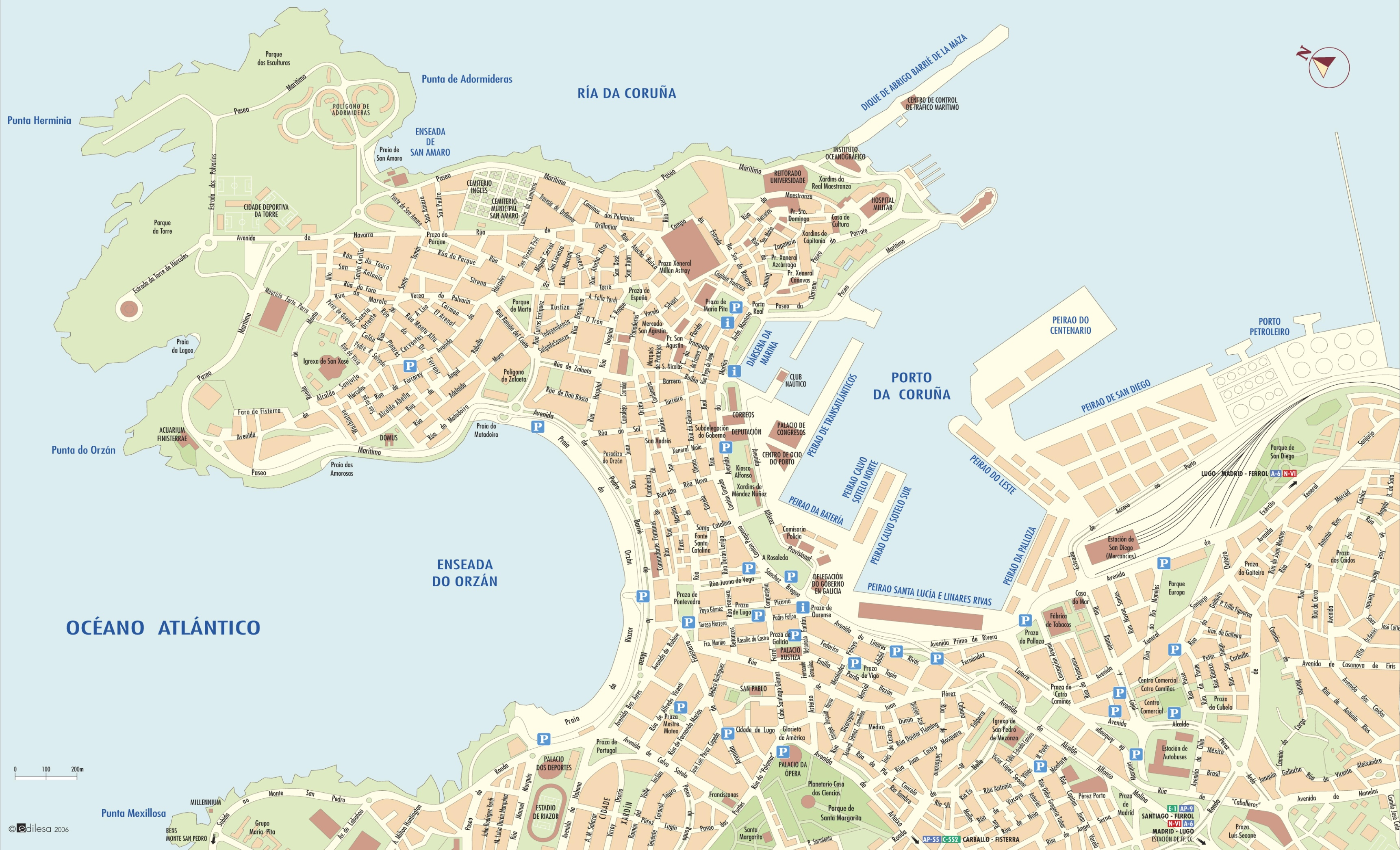 Map Of Spain La Coruna.A Coruna City Center Map