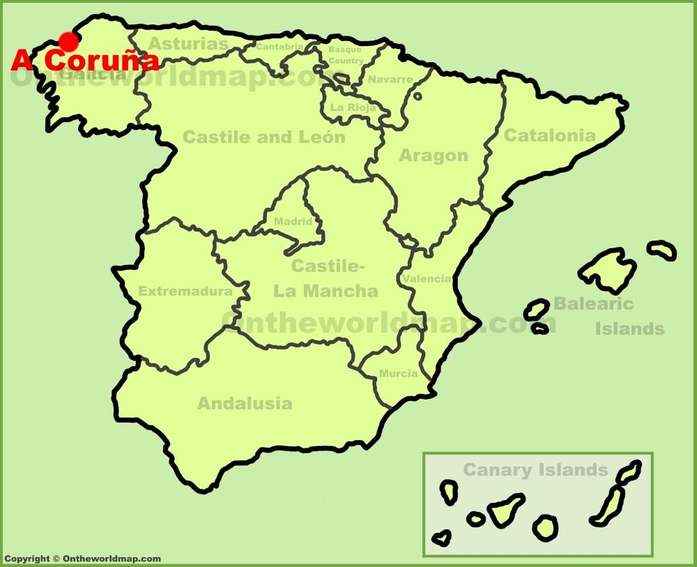 A Coruña Mapa España.A Coruna En El Mapa De Espana