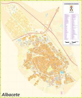 Large Detailed Map of Albacete