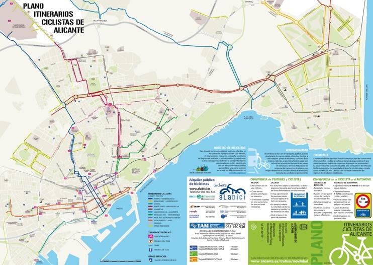 Alicante bicicleta mapa