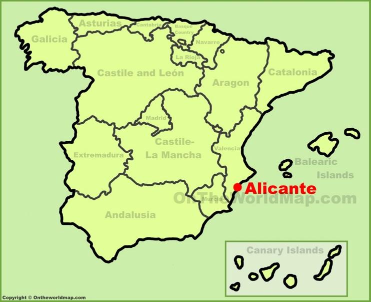Alicante en el mapa de España