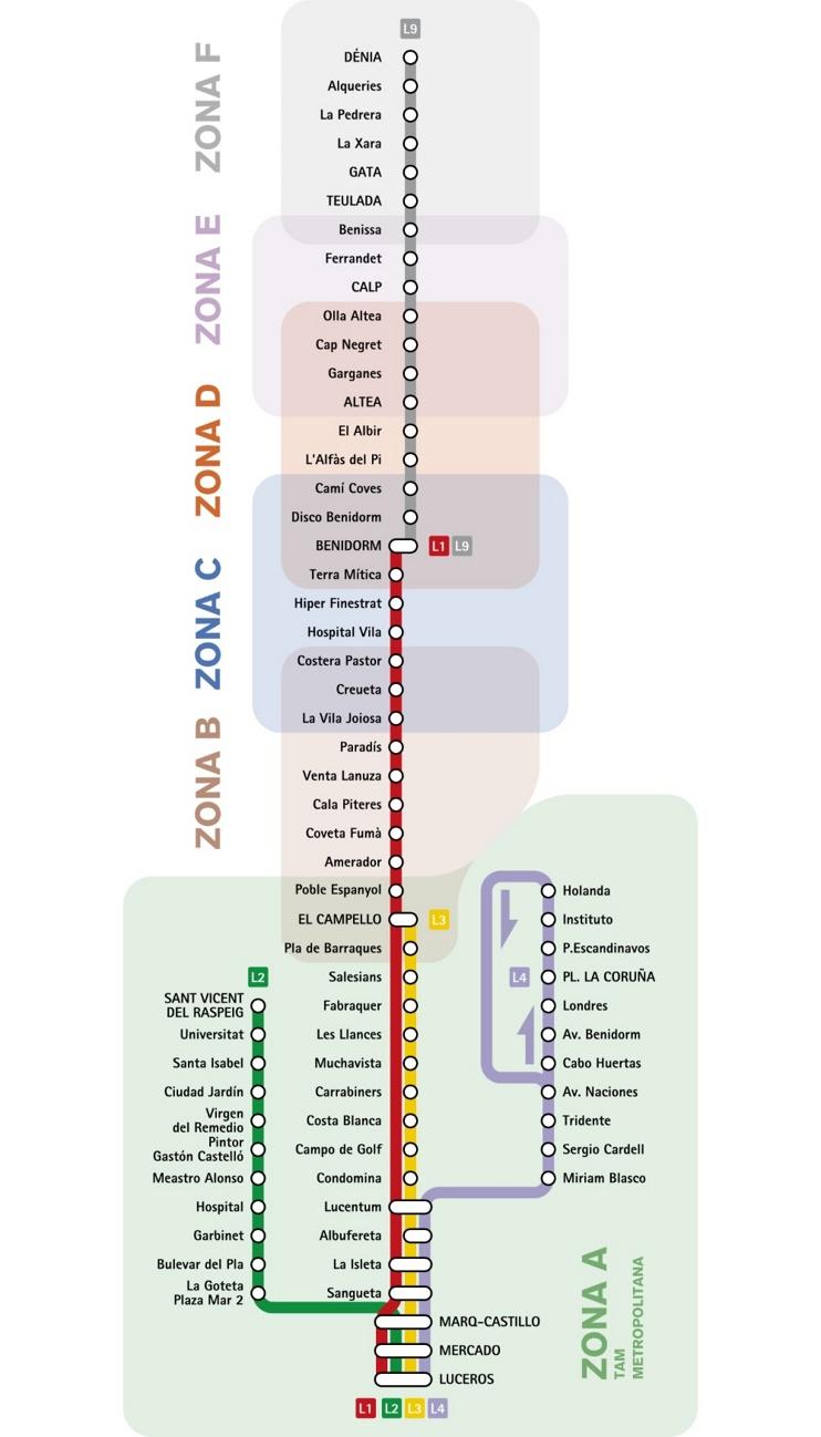 Alicante tranvía y metro mapaa