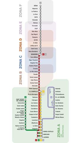Alicante tram map