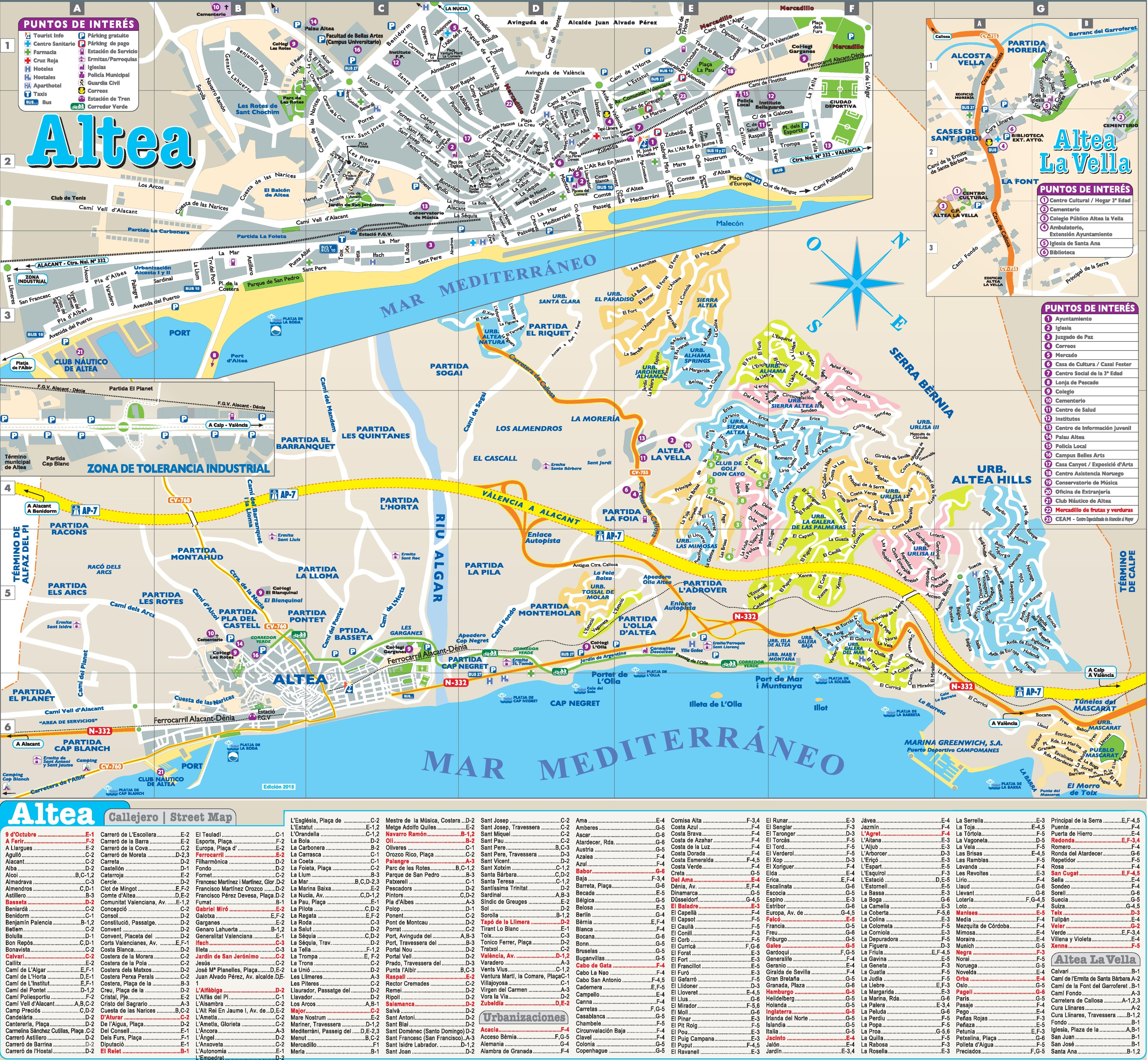 Altea tourist map