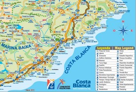 Tourist map of surroundings of Altea
