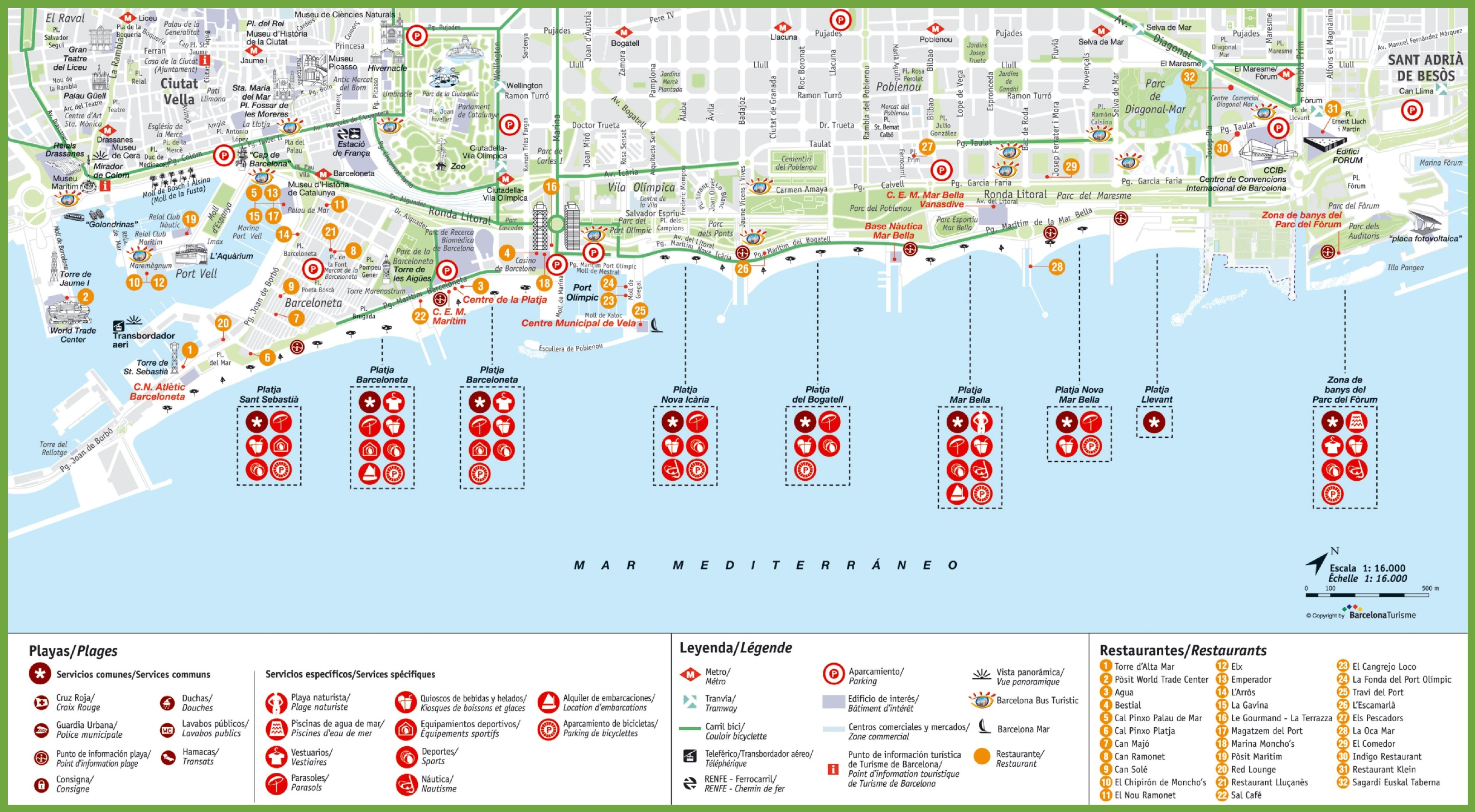 Map 24 Spain.Barcelona Beach Map
