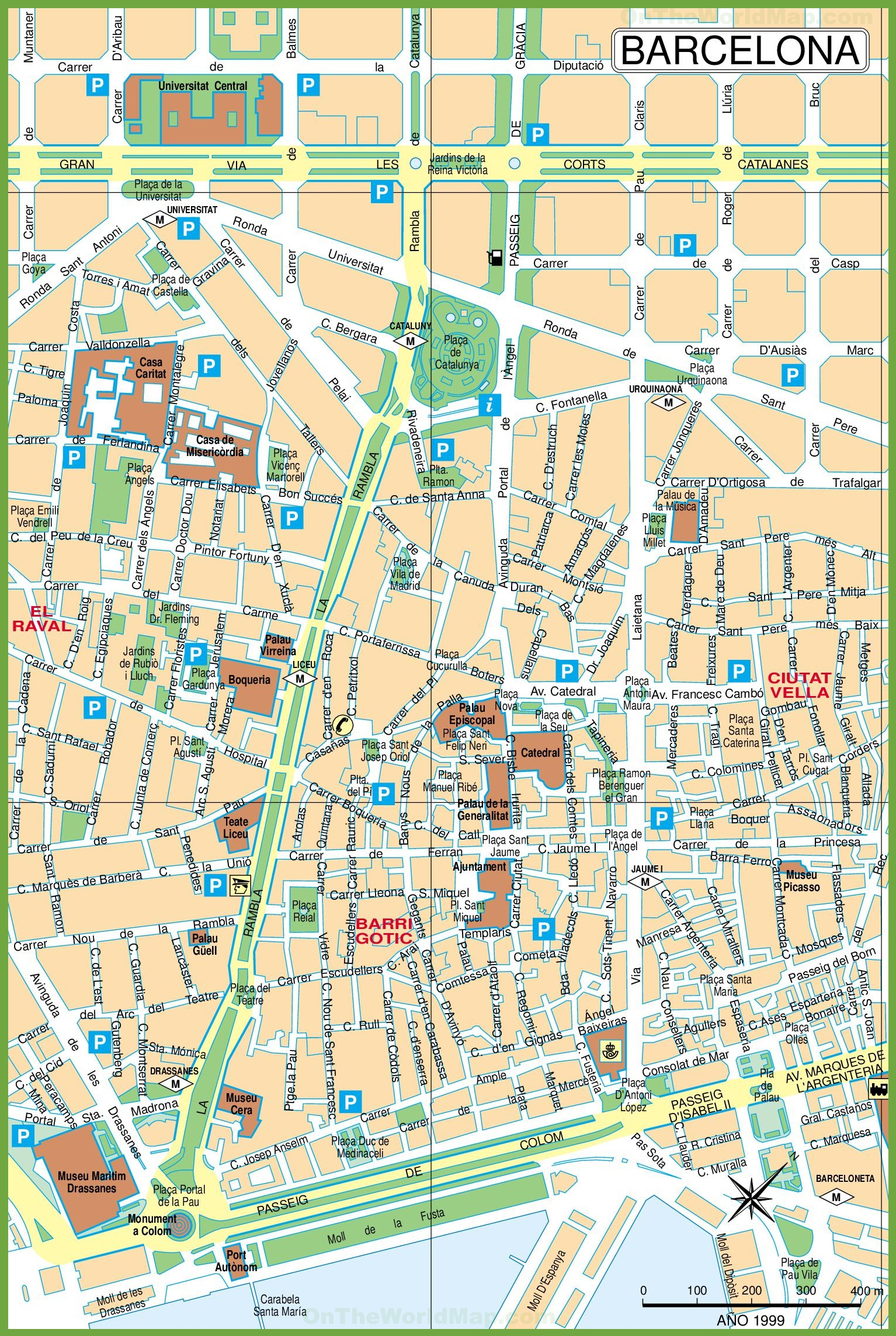barcelona city center map -