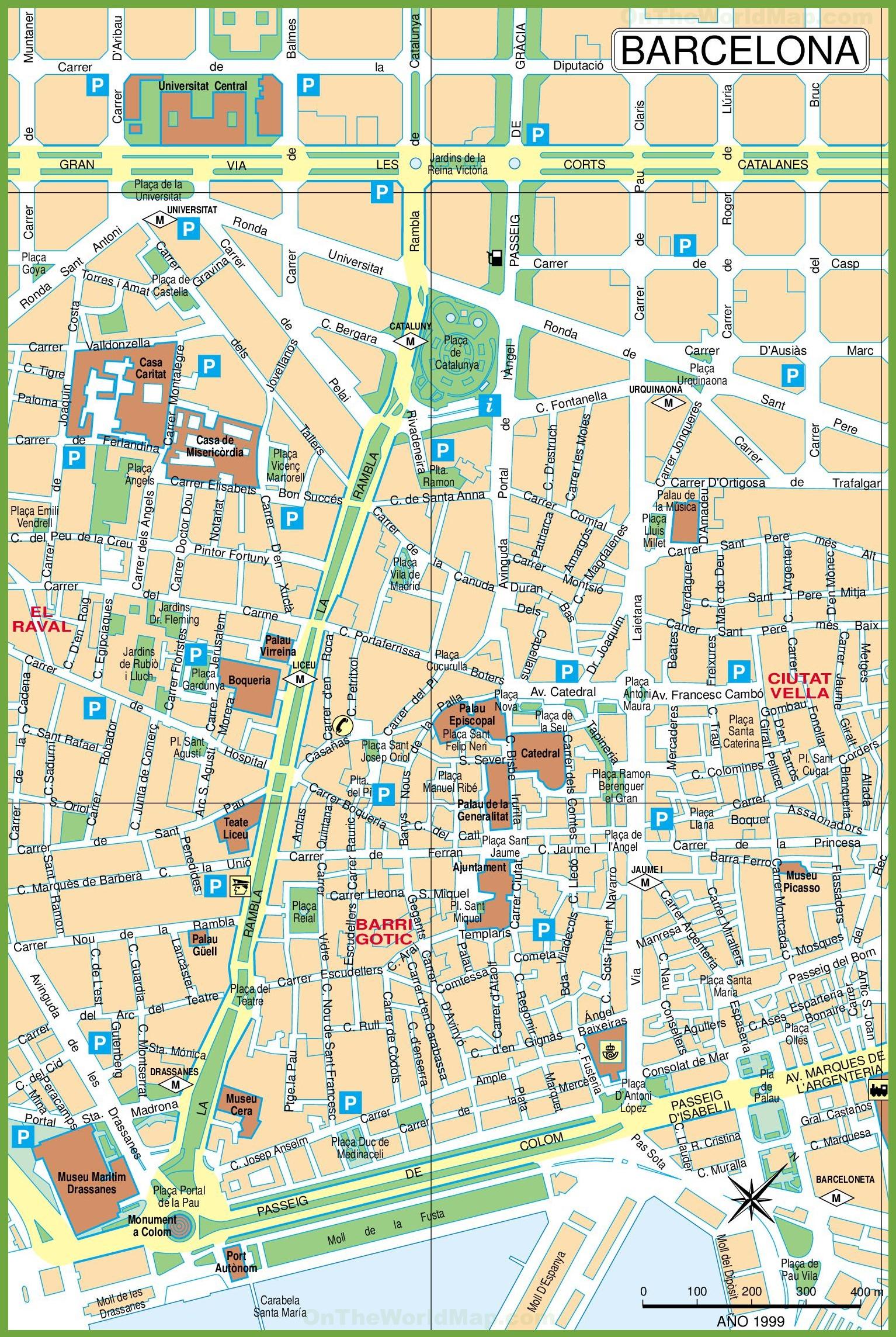 City Centre Map Barcelona city center map City Centre Map