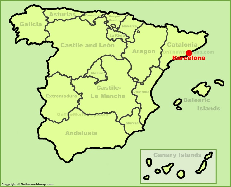 Barcelona location on the Spain map