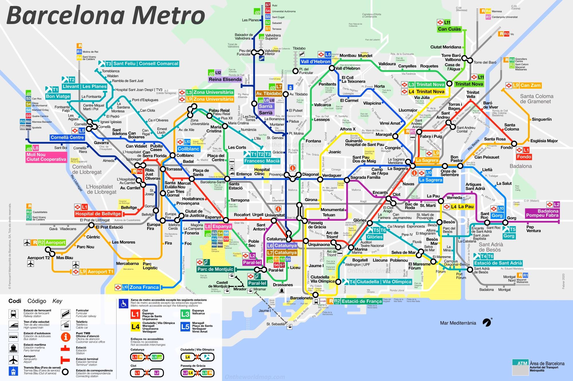 Barcelona Metro Y Tranvia Mapa