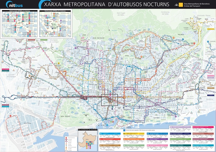 Barcelona Nitbus map