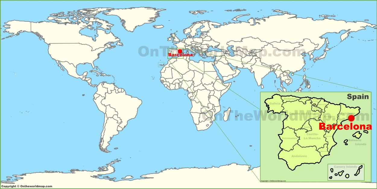 Map Of Spain With Barcelona.Barcelona On The World Map