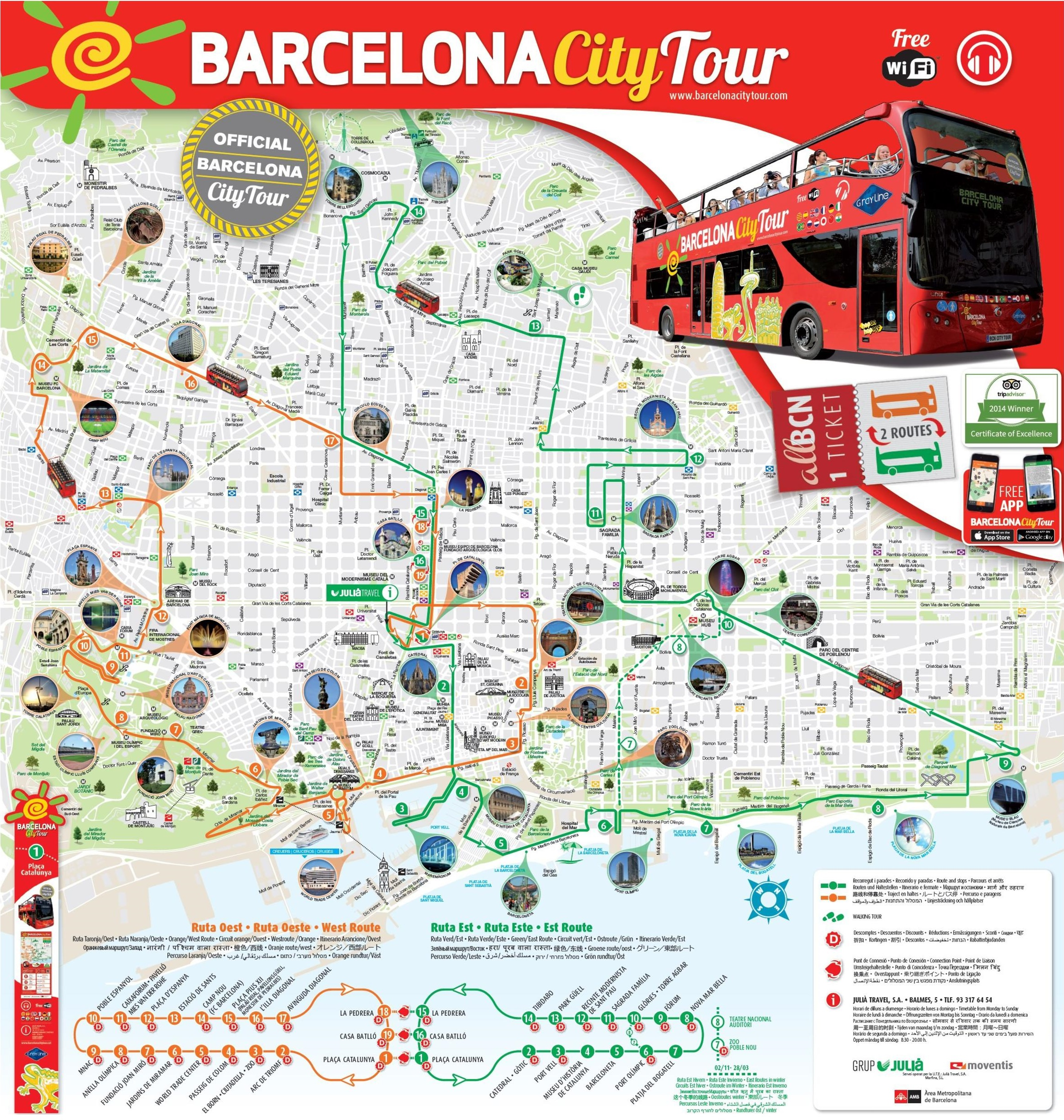 Barcelona sightseeing map – Tourist Attractions Map In Russia