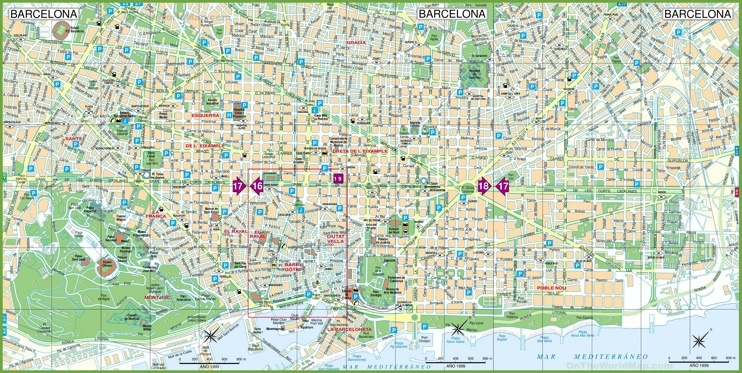 Large detailed tourist street map of Barcelona