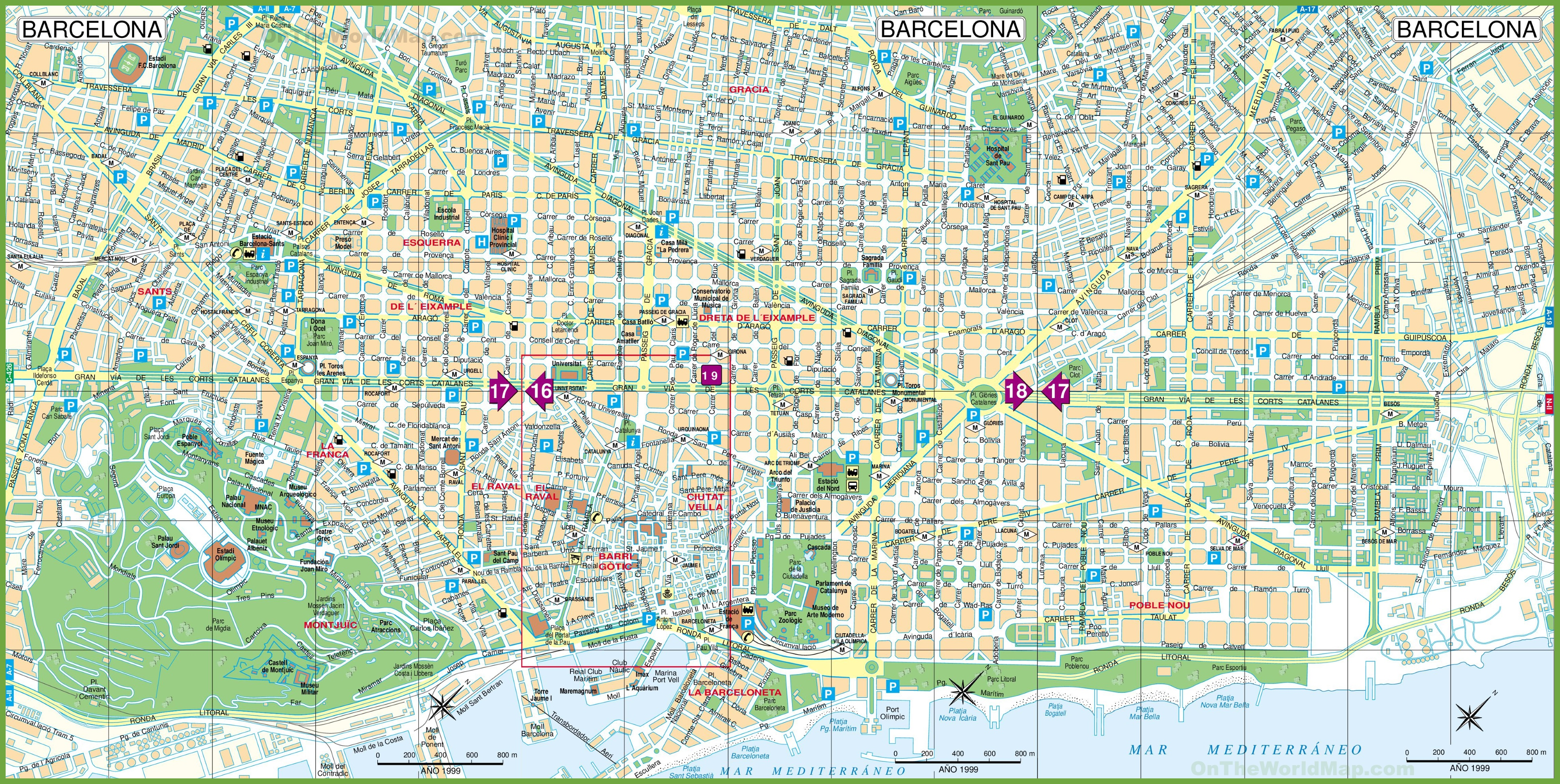 large detailed tourist street map of barcelona -