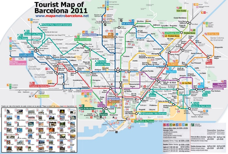 Metro map of Barcelona with sightseeings