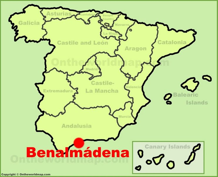 Benalmadena location on the Spain map
