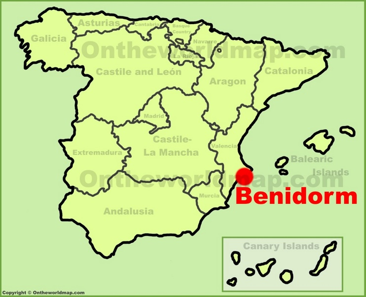 Benidorm location on the Spain map