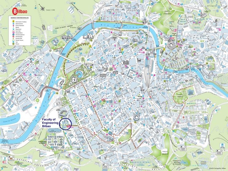 Bilbao - Mapa del centro de la ciudad
