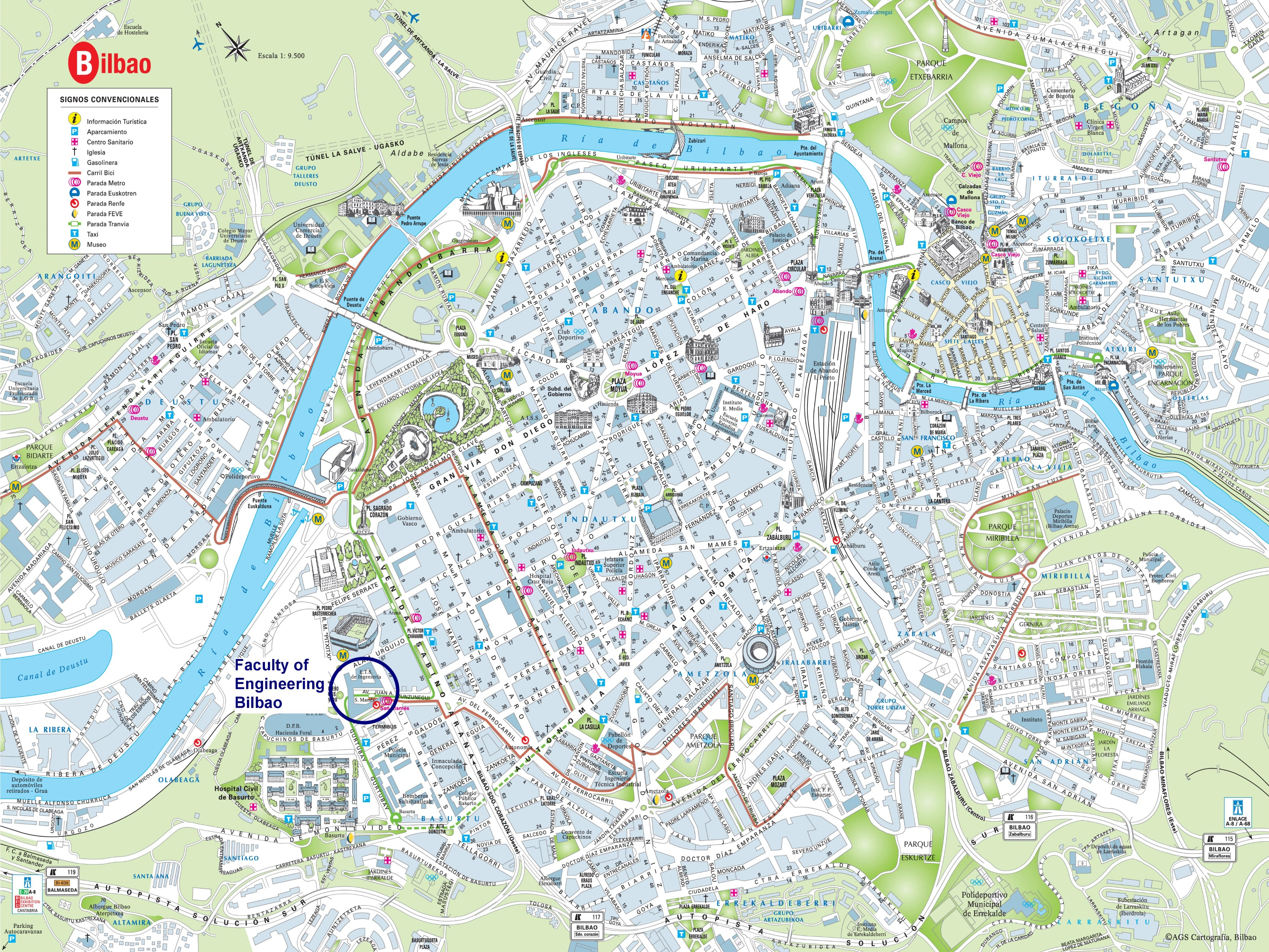 Bilbao city center map