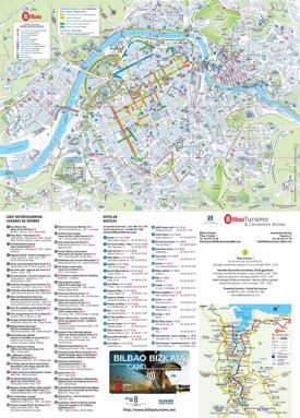 Bilbao hotels and sightseeings map