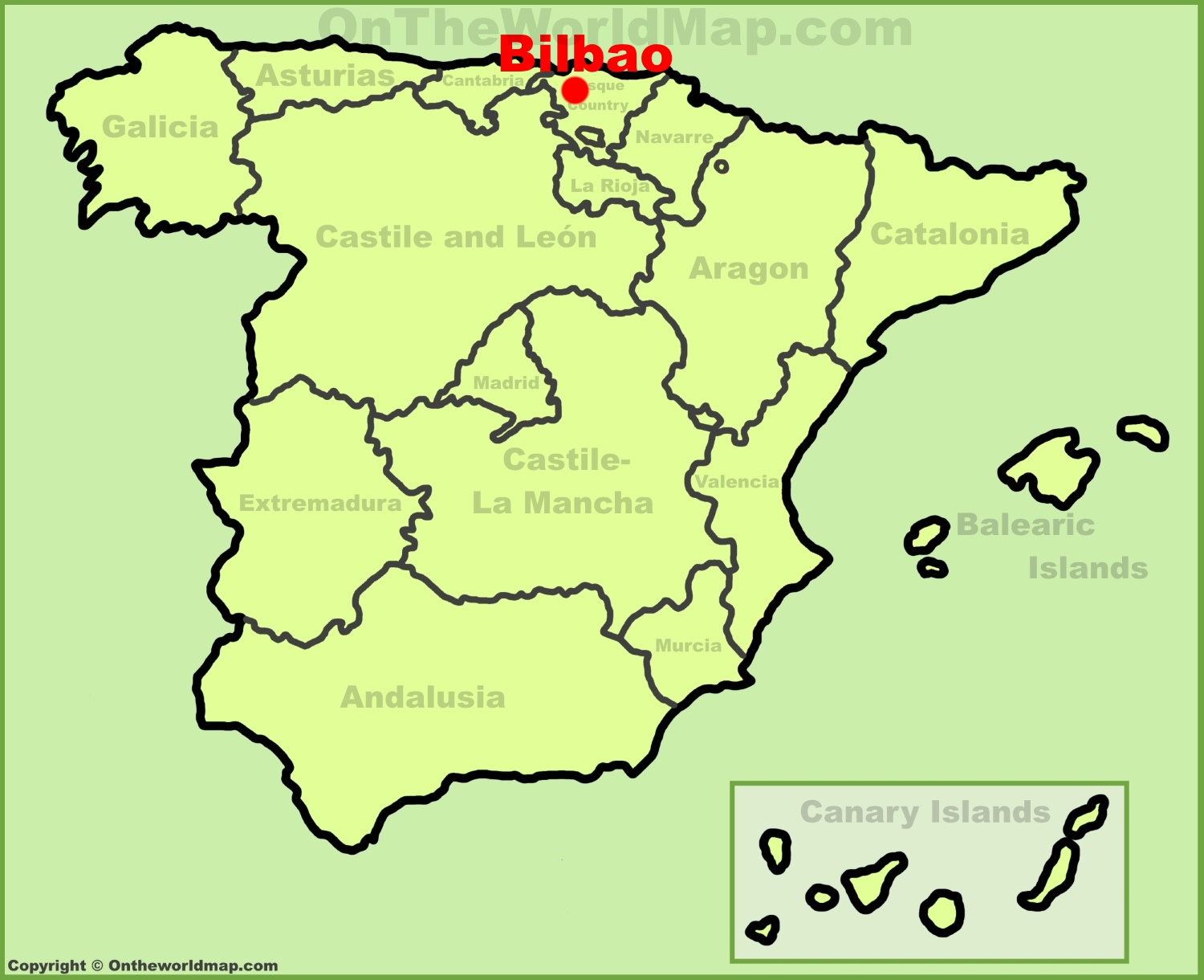 Bilbao location on the Spain map