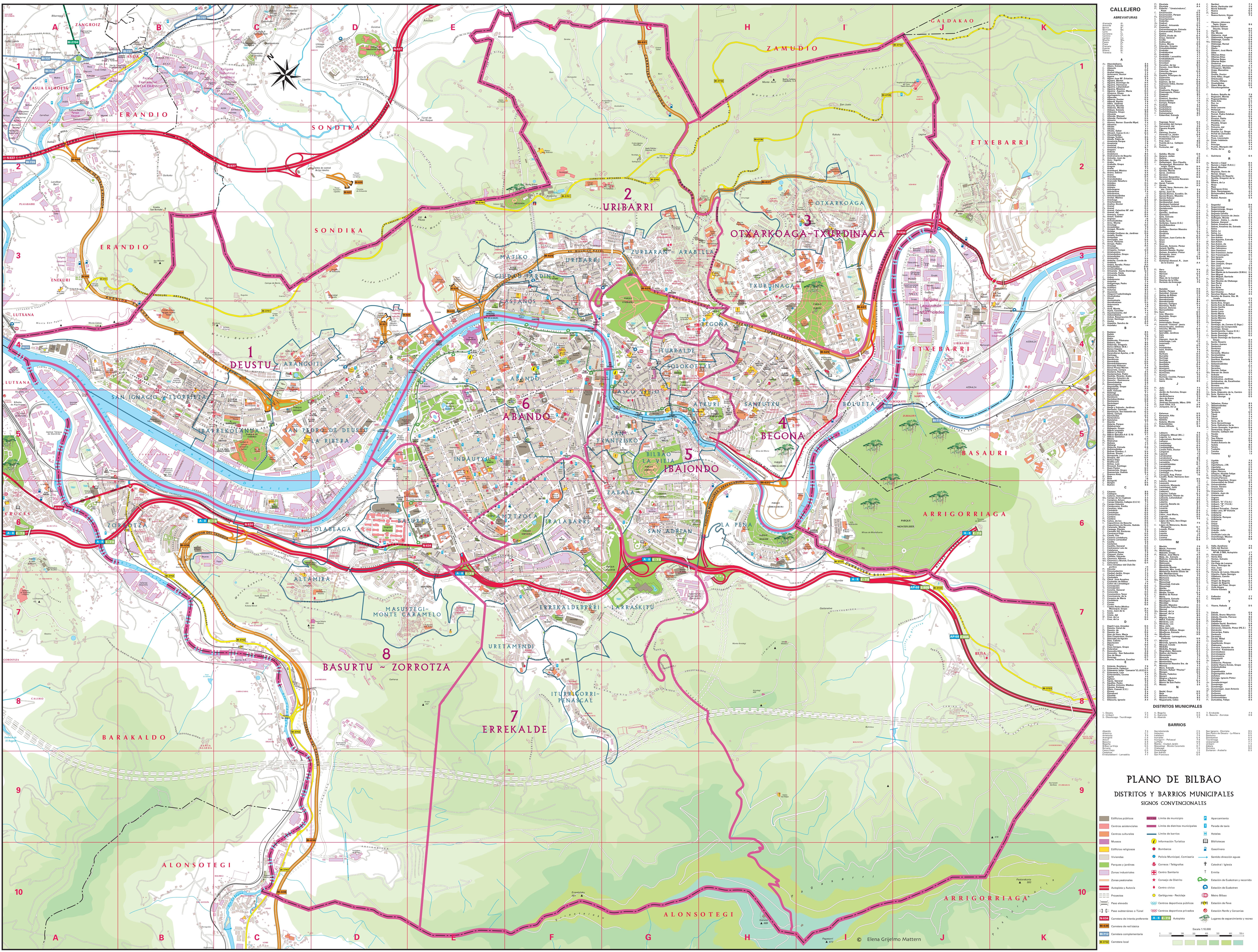 Gran Mapa Turistico Detallado De Bilbao