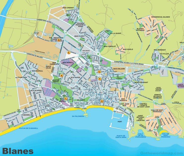 Blanes tourist map